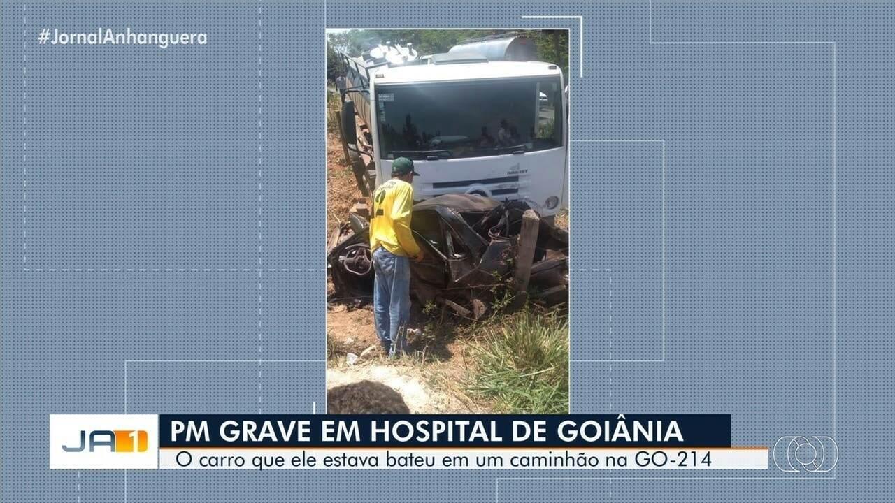 Policial militar fica ferido em acidente na GO-214, em Pontalina