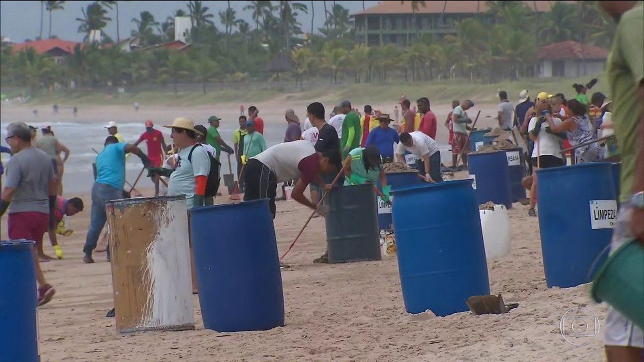 Voluntários fazem mutirão para limpar óleo de praias no litoral de Pernambuco