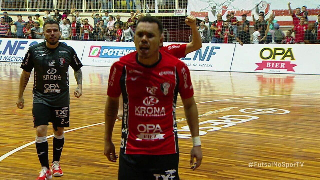 Os gols de Joinville 3 x 1 Corinthians pela Liga Nacional de Futsal