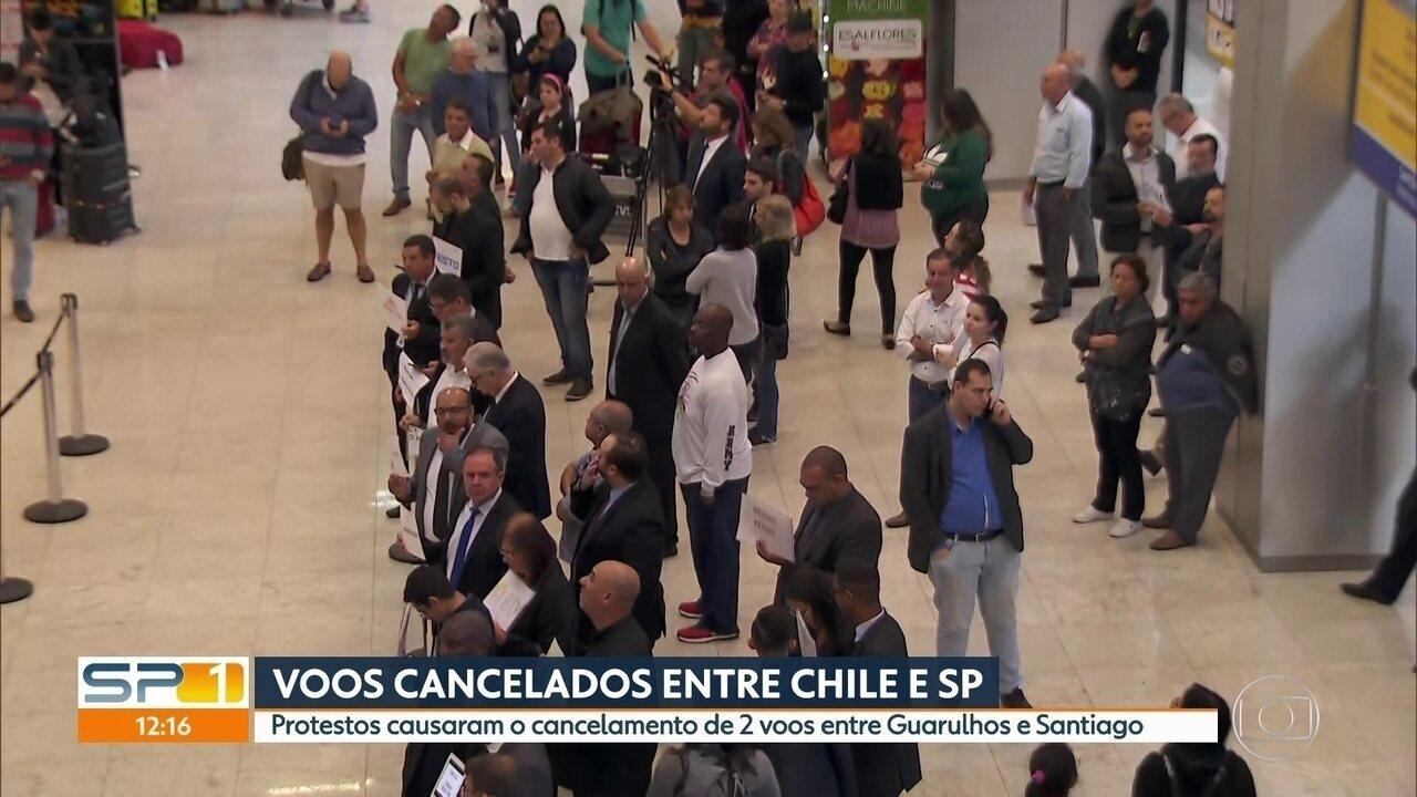 Protestos causam cancelamento de dois voo entre Guarulhos e Santiago do Chile
