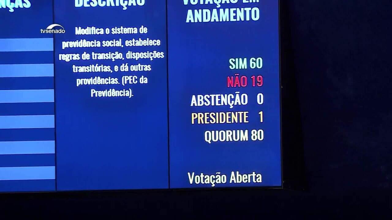 Senado aprova texto-base da reforma da Previdência em segundo turno: 60 votos a 19