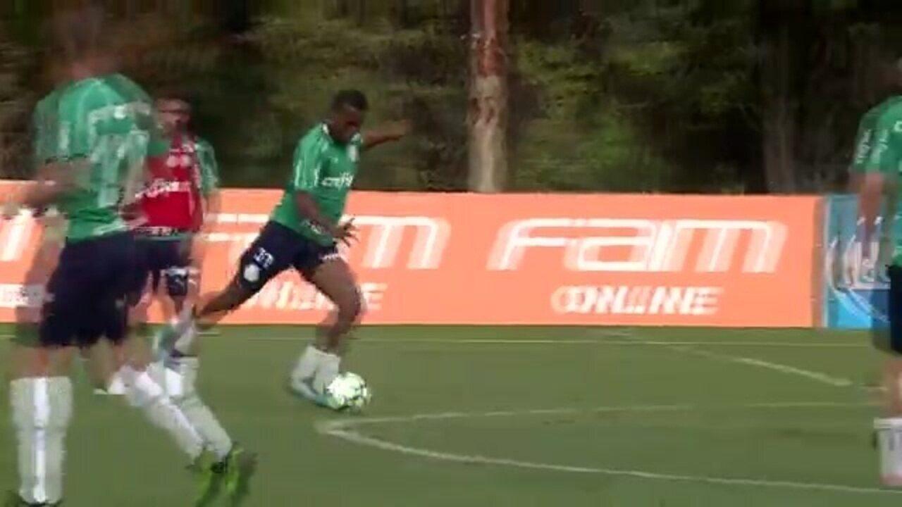 Carlos Eduardo faz belo gol em treino do Palmeiras