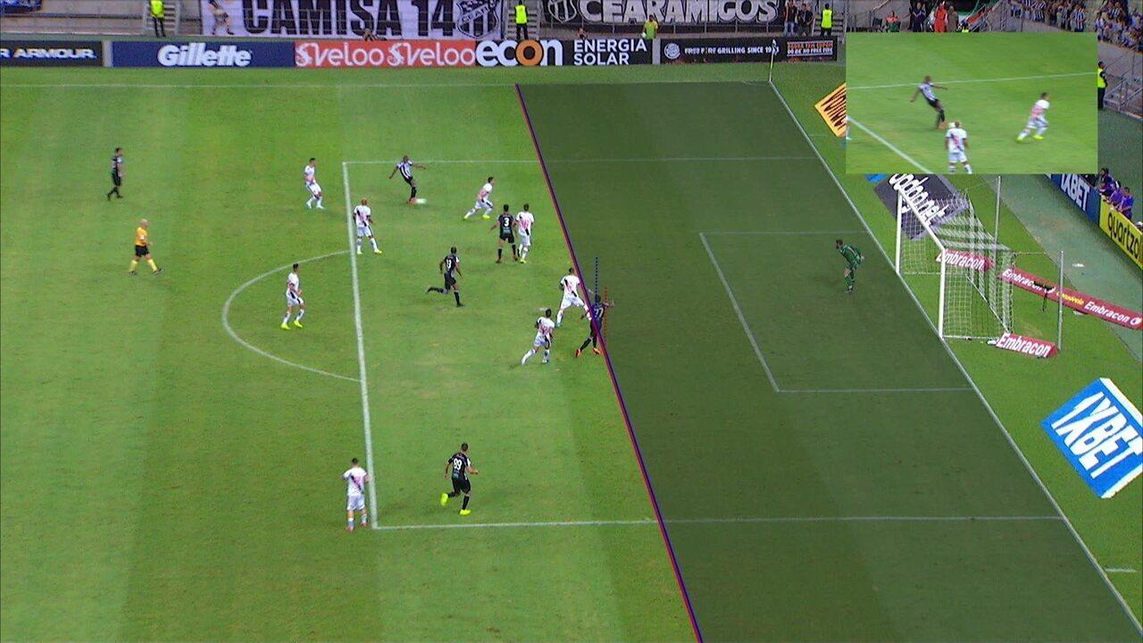 Em 2019, gol do Ceará foi confirmado diante do Vasco, mas o pé de Castan estava encoberto, dificultando o traçado da linha