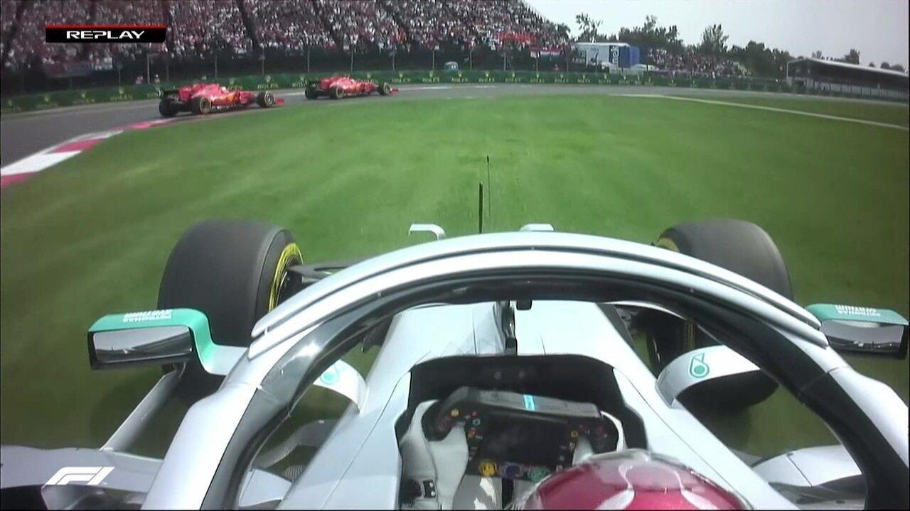 Hamilton e Verstappen se tocam na largada do GP do México de Fórmula 1