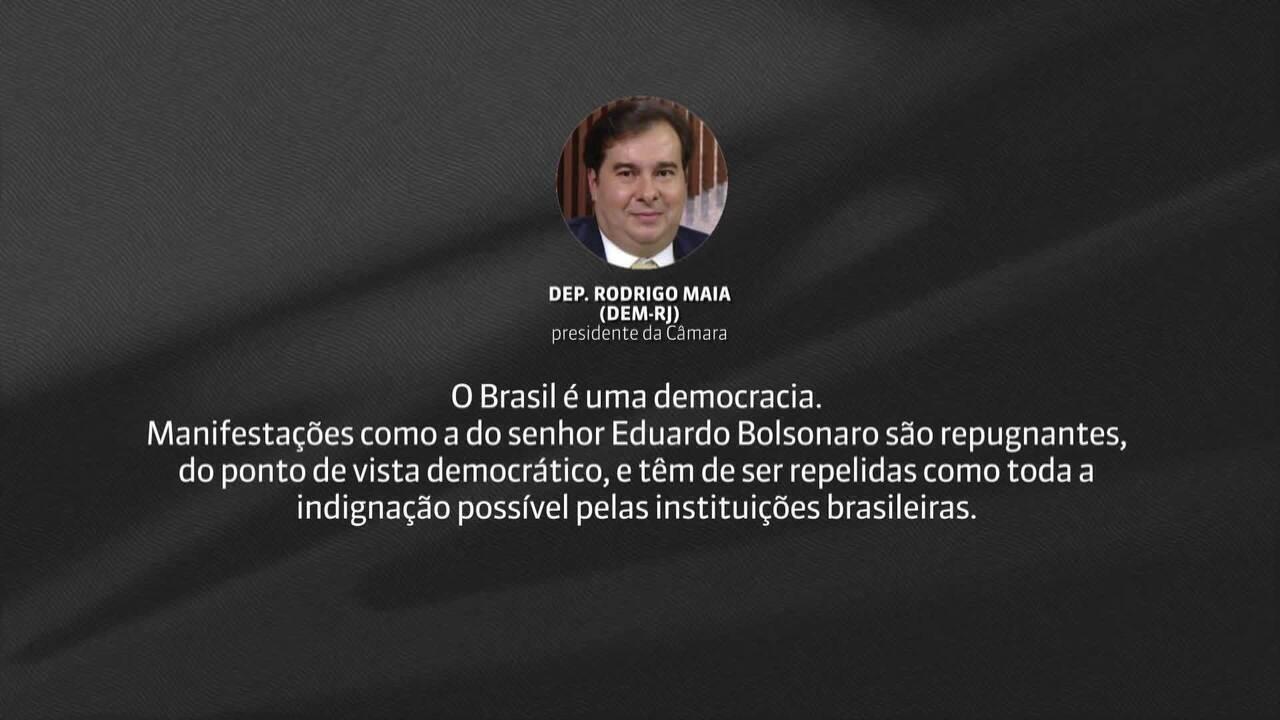 Rodrigo Maia divulga nota sobre fala de Eduardo Bolsonaro sobre volta do AI-5