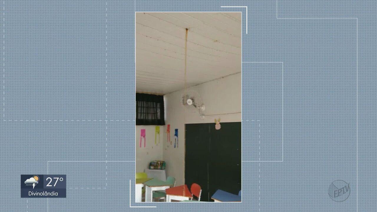 Mãe de aluna de escola infantil de Descalvado faz vídeo que mostra goteira em sala de aula