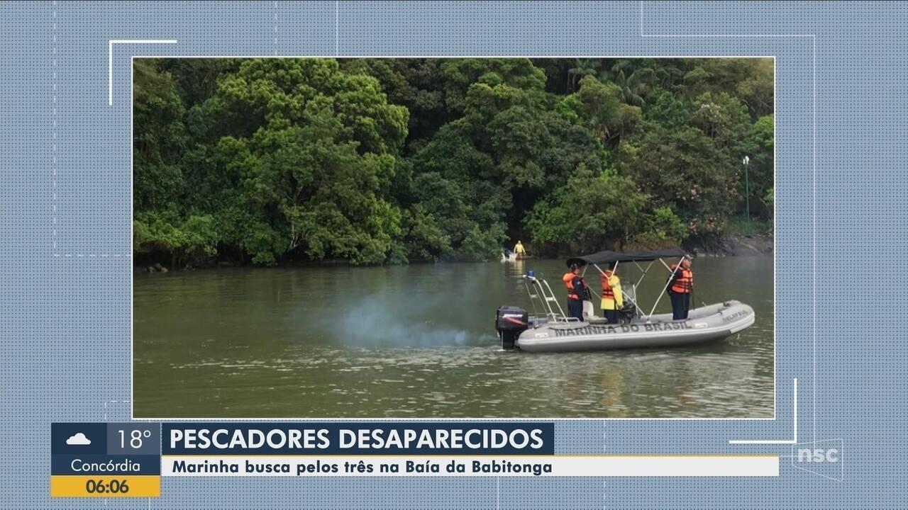 Marinha faz buscas por três pescadores desaparecidos na Baía da Babitonga no Norte de SC