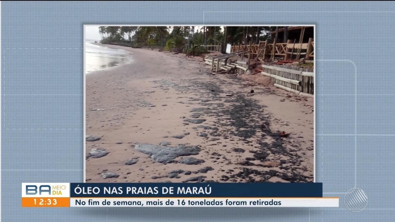 Resultado de imagem para Óleo volta a aparecer em Maraú após retirada de 16 toneladas da substância em praias da cidade no final de semana