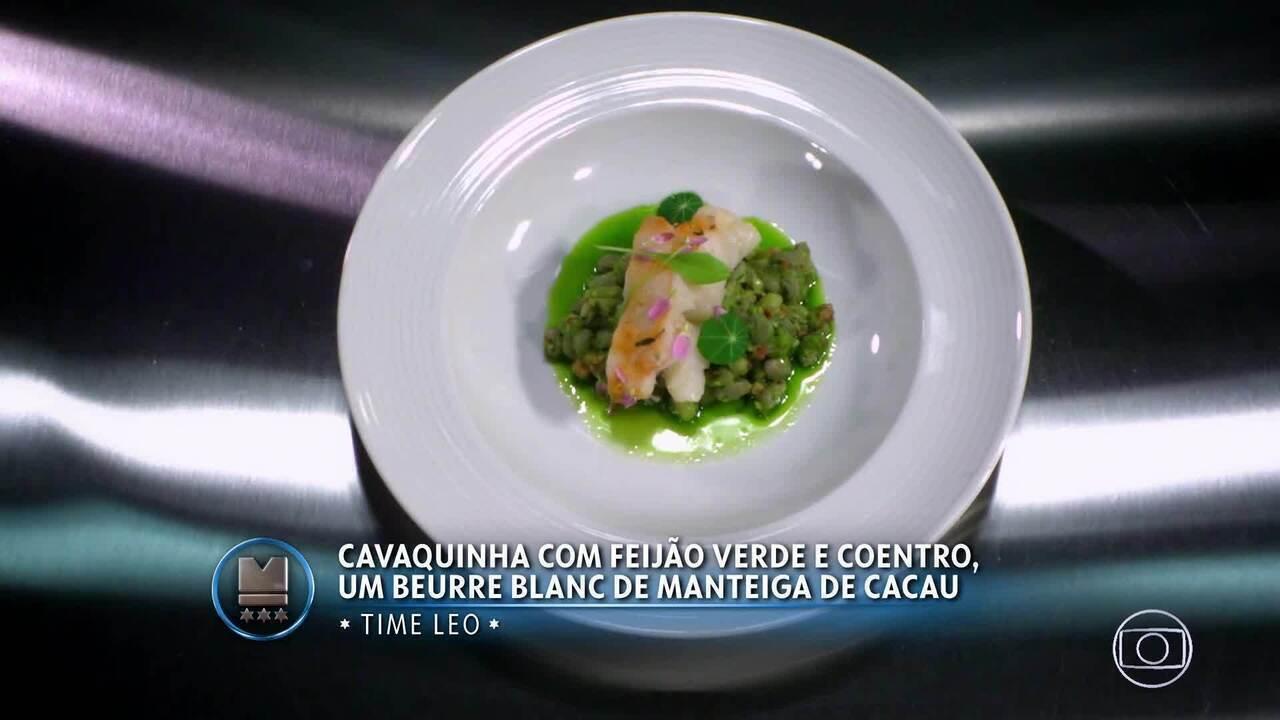 Cavaquinha com Feijão Verde e Coentro e Beurre Blanc de Manteiga de Cacau do Time Leo