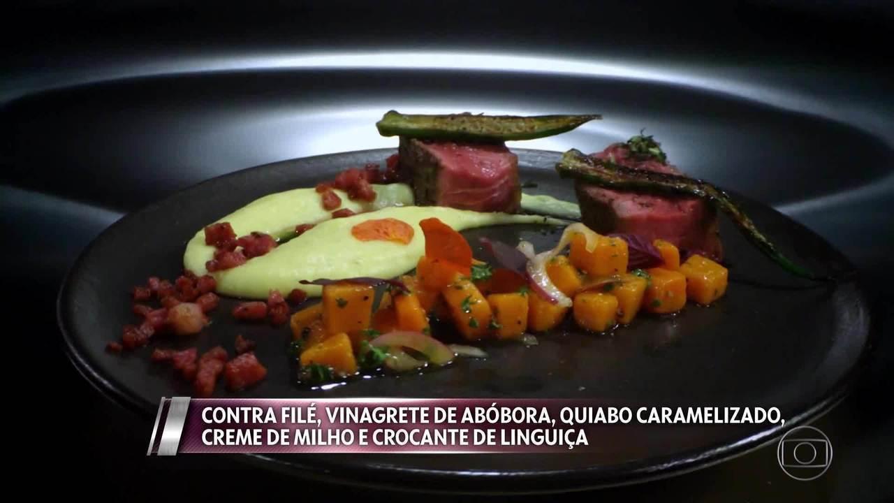 Contra filé, Vinagrete, Quiabo Caramelizado, Creme de Milho e Crocante de Linguiça