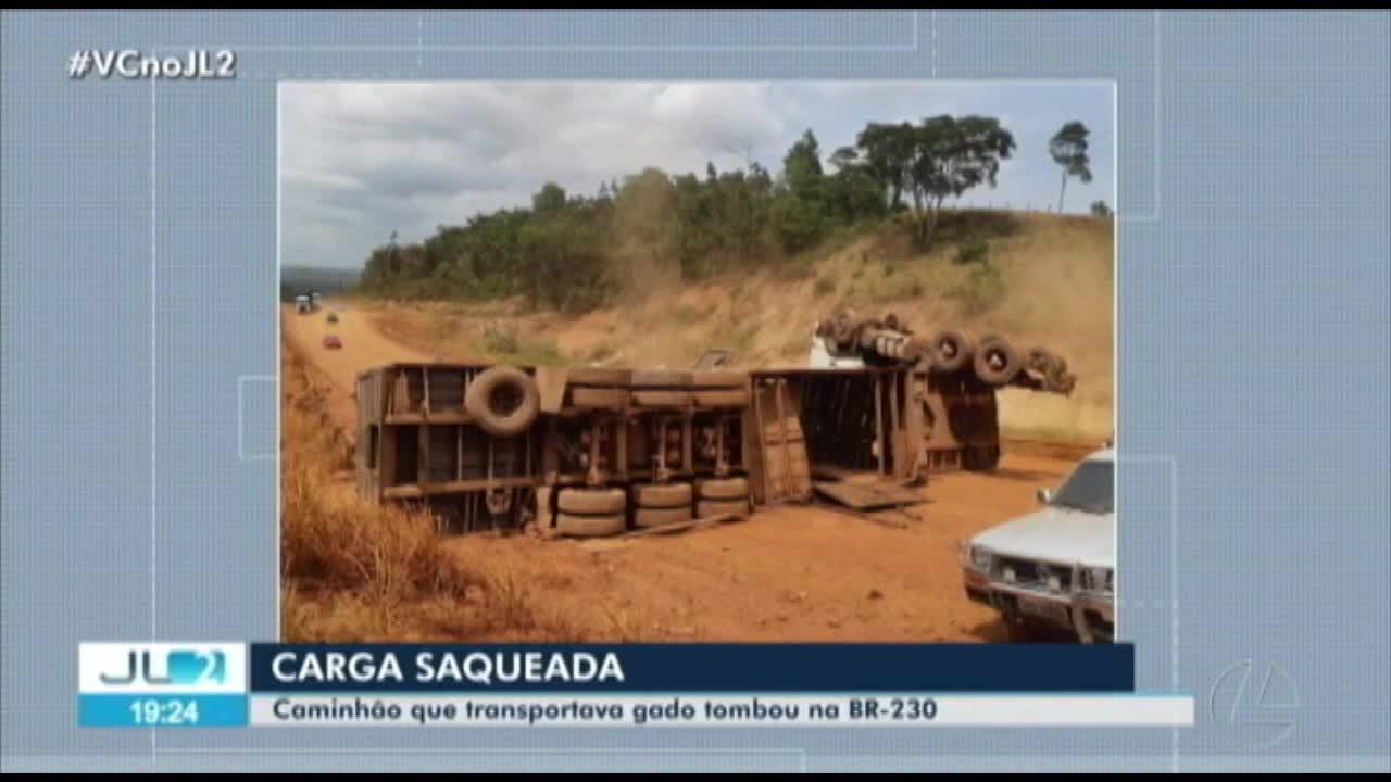 Caminhão que transportava gado tomba na rod. Transamazônica, no sudoeste do PA