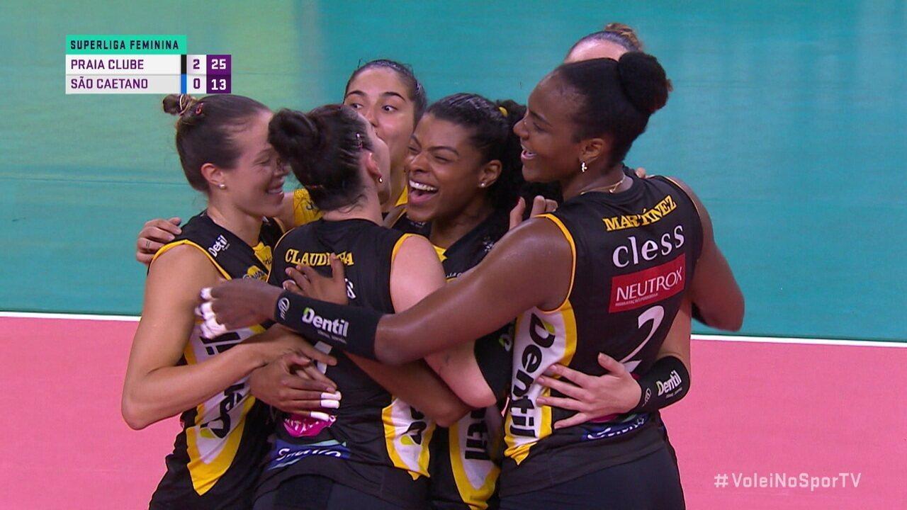 Os pontos finais de Praia Clube 3 x 0 São Caetano pela Superliga de Vôlei Feminino