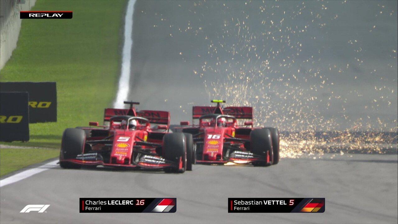 Leclerc passa Vettel, mas depois os dois se chocam e ficam fora do GP do Brasil