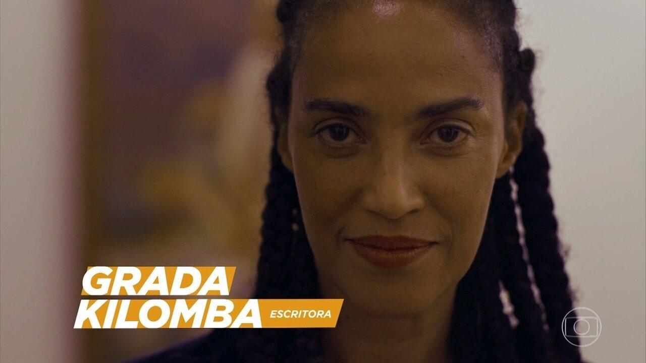 Pedro Bial relembra entrevista que conta história de Grada Kilomba e Xenia fala sobre importância da arte para a afirmação da cultura afro