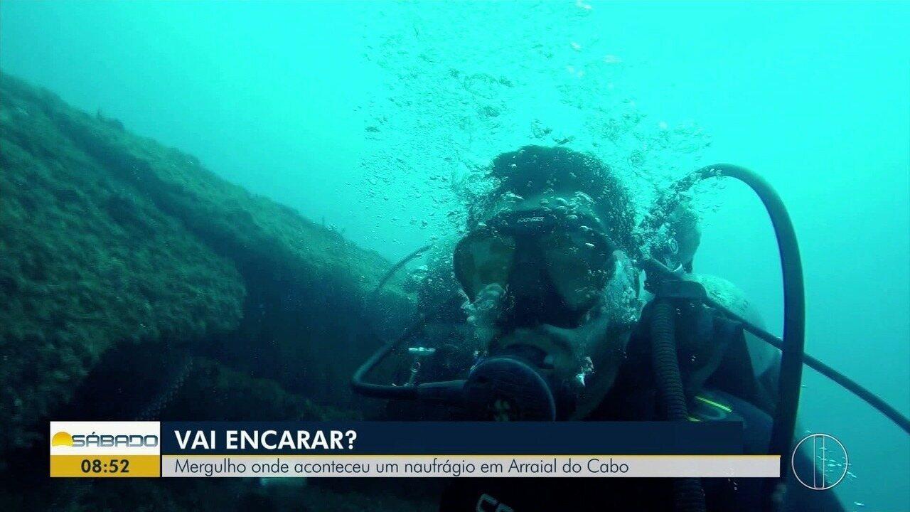 'Vai Encarar?': Gustavo Garcia mergulha onde aconteceu um naufrágio em Arraial do Cabo