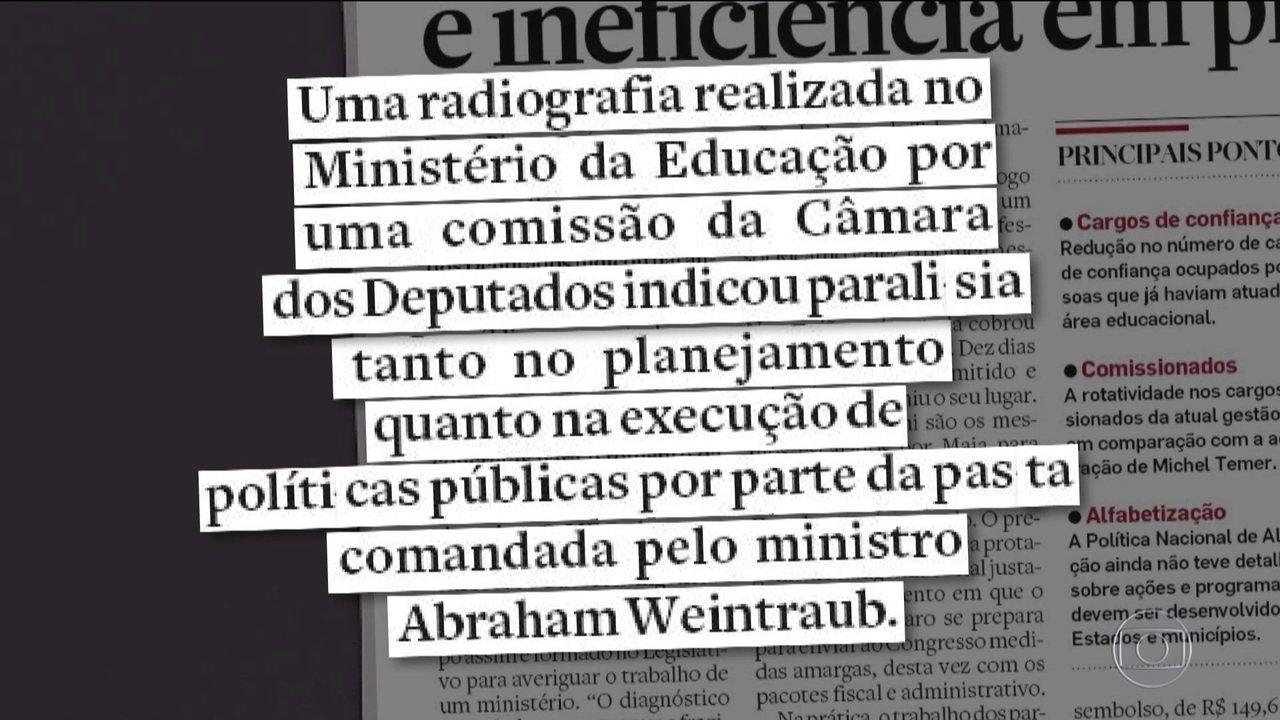 Relatório de comissão da Câmara critica gestão do Ministério da Educação