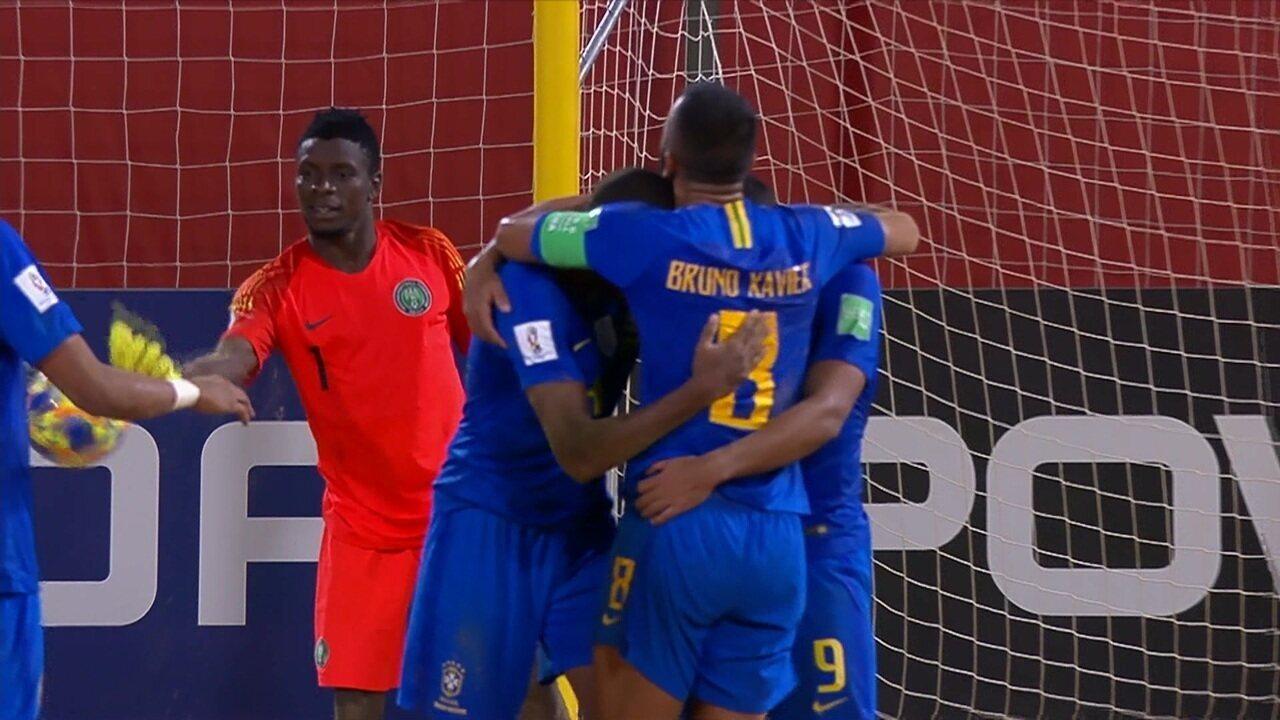 Os gols de Nigéria 2 x 12 Brasil pela Copa do Mundo de Futebol de Areia