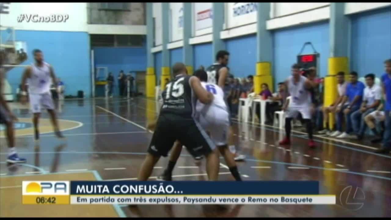 Em jogo com três expulsões, Paysandu vence o Remo no playoff do Paraense de Basquete