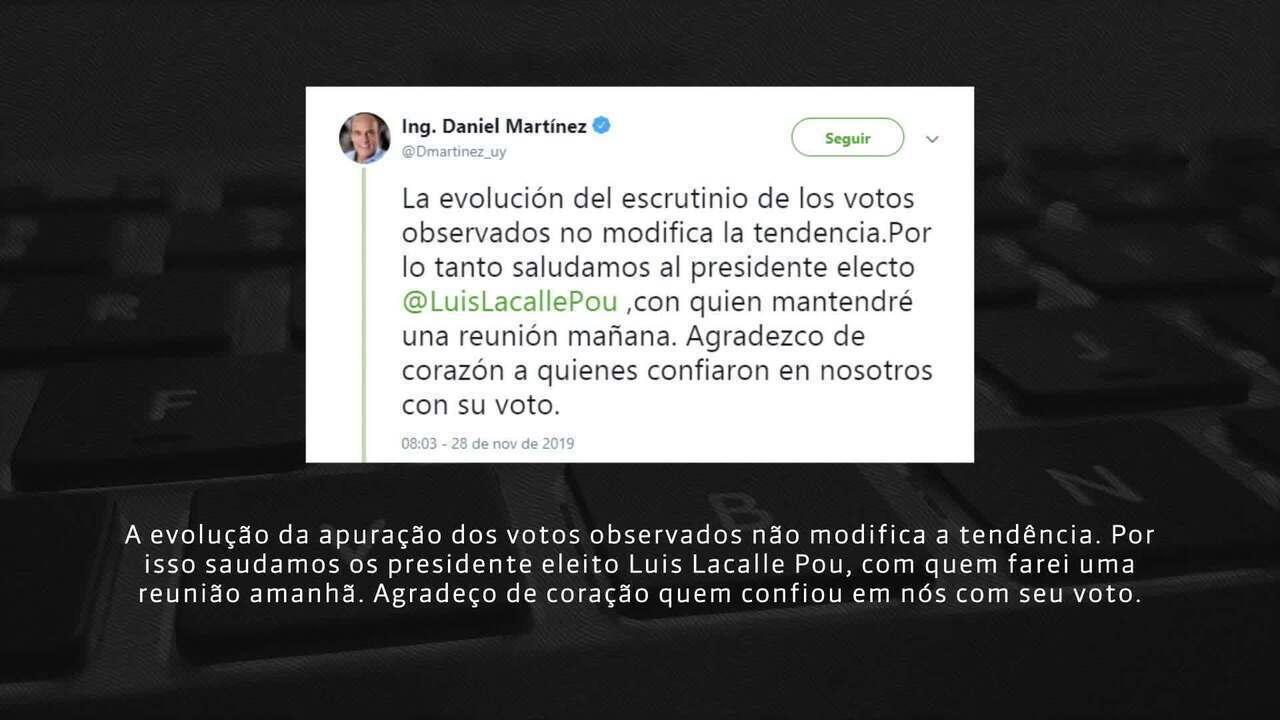Candidato Martínez reconhece vitória de Lacalle Pou nas eleições uruguaias