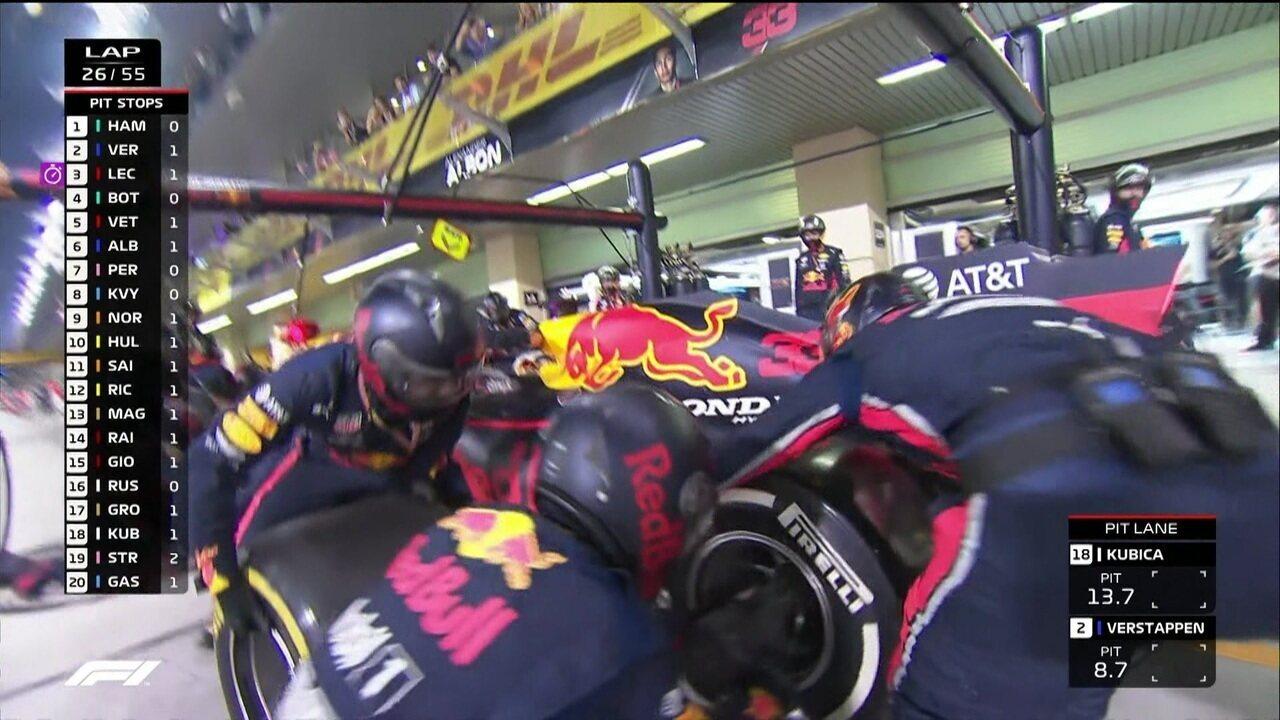 Verstappen faz pit stop e volta atrás de Leclerc