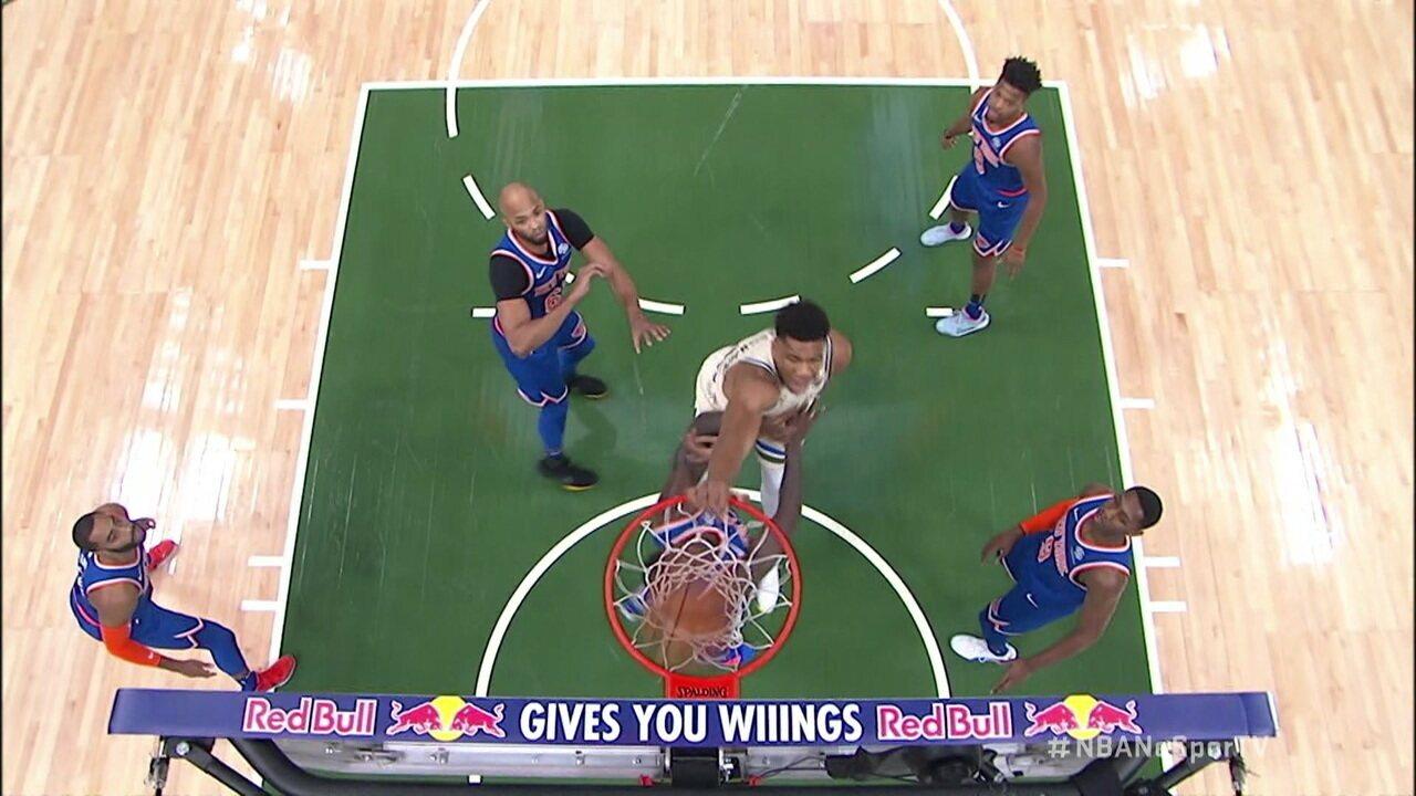 Melhores momentos: Milwaukee Bucks 132 x 88 New York Knicks pela NBA