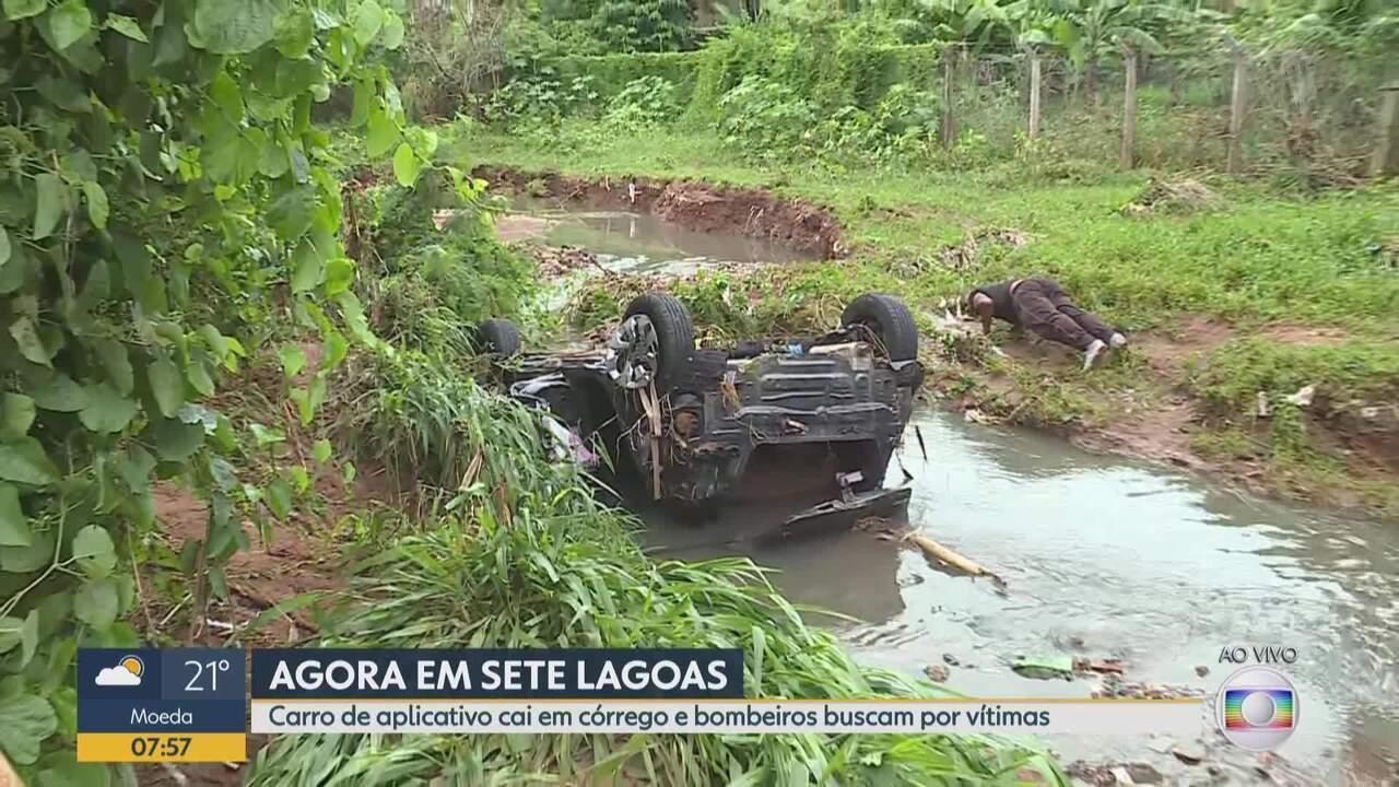 Dois desaparecem após carro ser arrastado por enxurrada durante temporal em Sete Lagoas