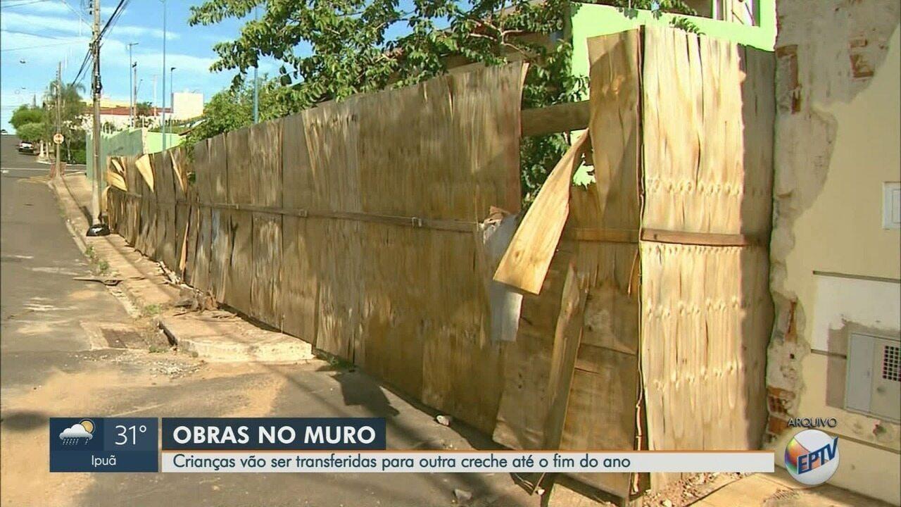 Reconstrução de muro deixa crianças sem aula em creche de Franca, SP