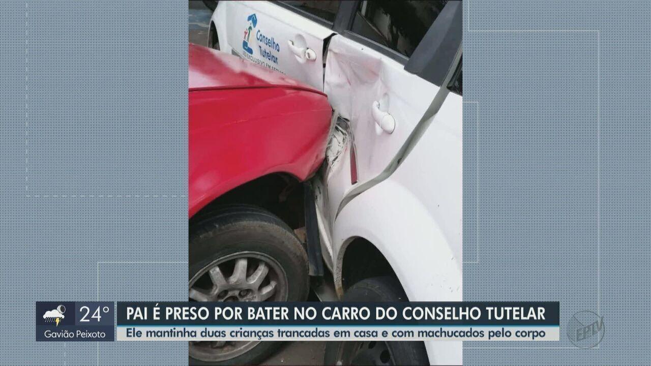 Após denúncia de maus-tratos, pai bate em carro do Conselho Tutelar em Leme