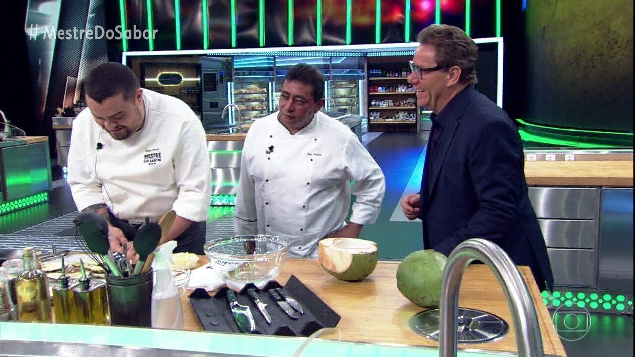 Dudu Poerner e Gabriel Coelho preparam as sobremesas