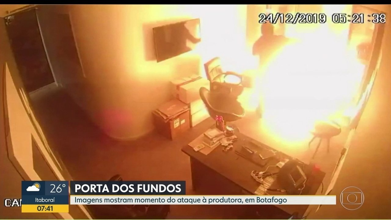 Imagens mostram ataque à produtora do Porta dos Fundos, em Botafogo