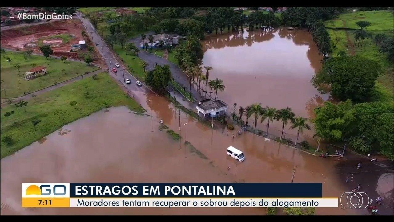 Moradores tentam se recuperar dos estragos causados por alagamentos em Pontalina