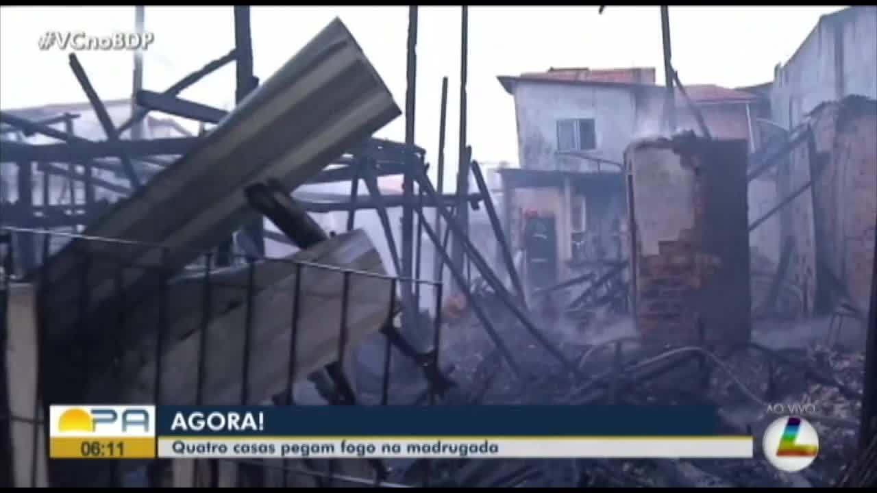 Incêndio atinge residências no bairro de Fátima, em Belém