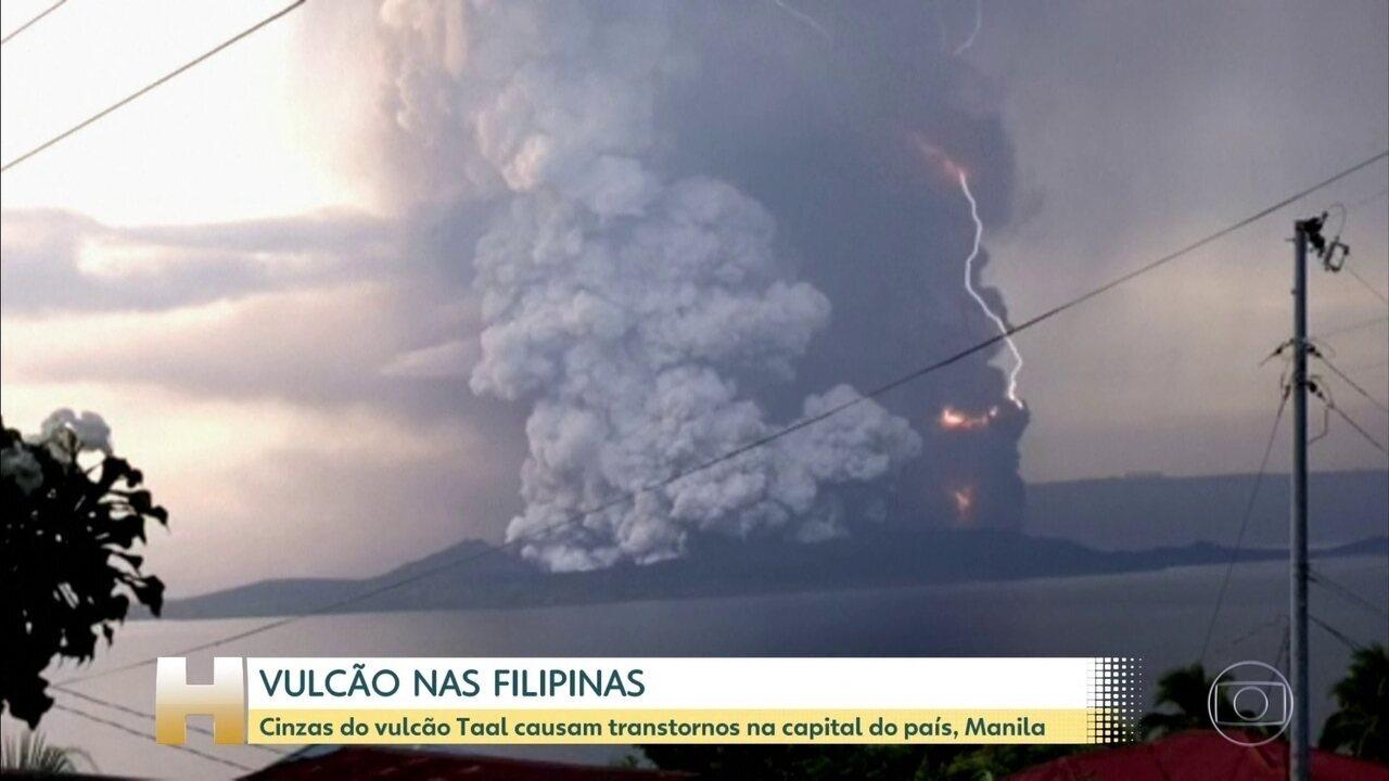 Cinzas do vulcão Taal causam transtornos nas Filipinas