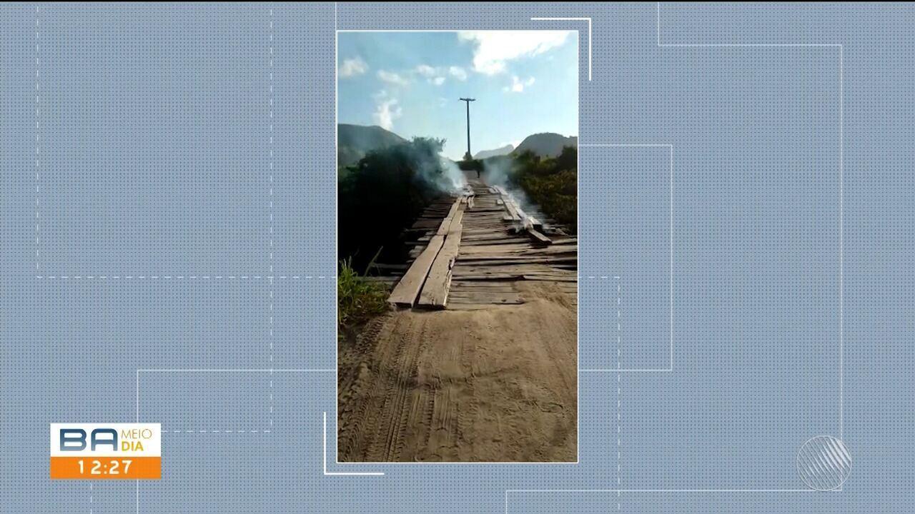 Ônibus e caminhões não podem passar na ponte da BA-283, em Guaratiga