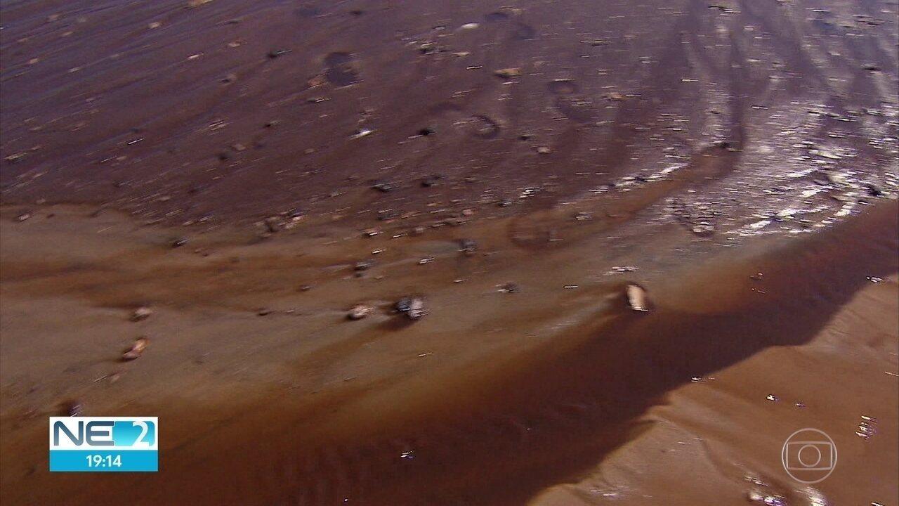 Mancha escura surge no mar de Muro Alto, em Ipojuca, por causa de obra em residencial
