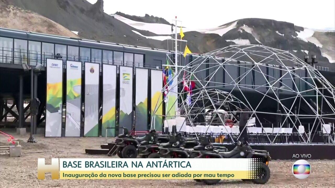 Inauguração da nova base brasileira na Antártica precisou ser adiada por mau tempo