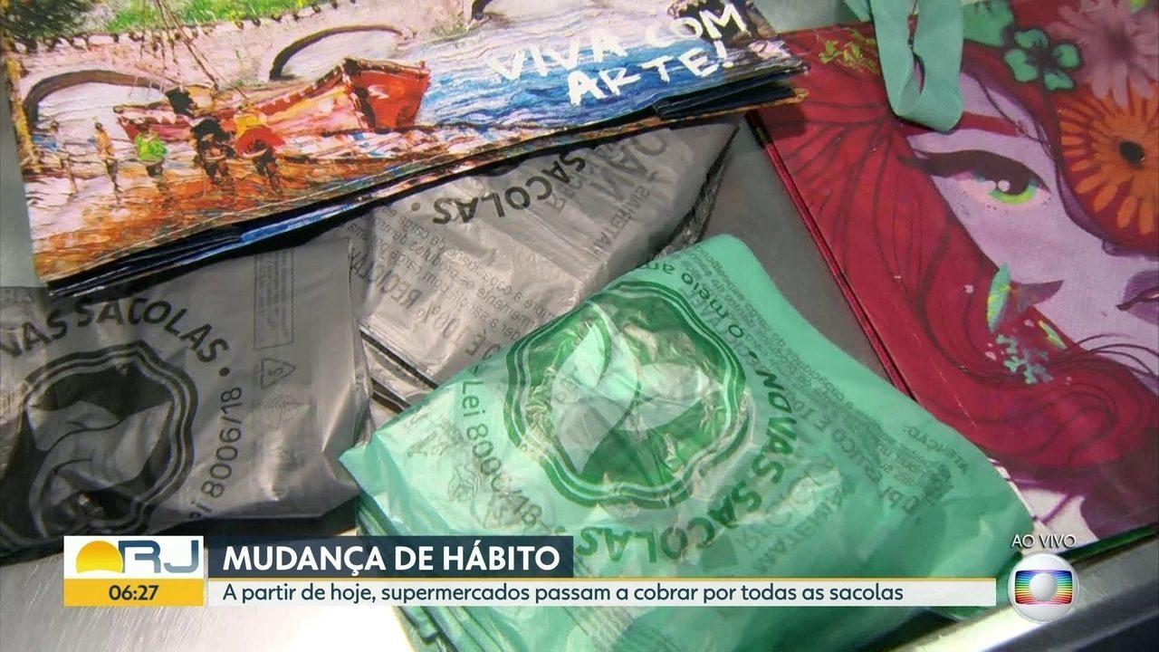 Começa nesta quarta-feira (15) a cobrança pelas sacolas plásticas em supermercados