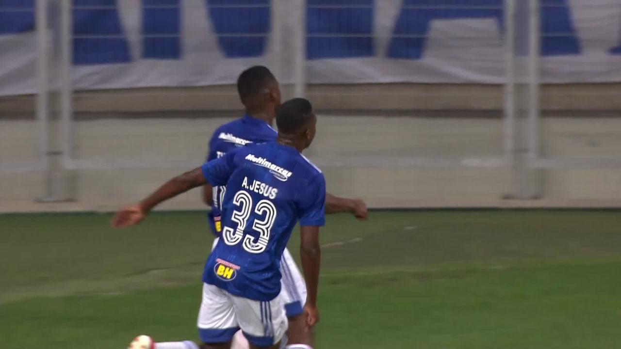 Gol do Cruzeiro! Maurício cruza para Thiago marcar de cabeça, aos 18 do 1T