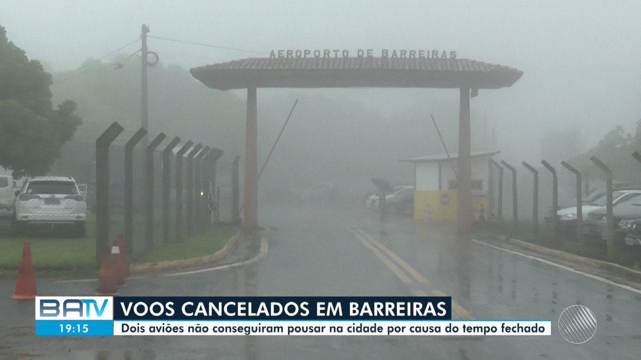 Aviões não pode pousar em Barreiras por causa das fortes chuvas que assolam a cidade