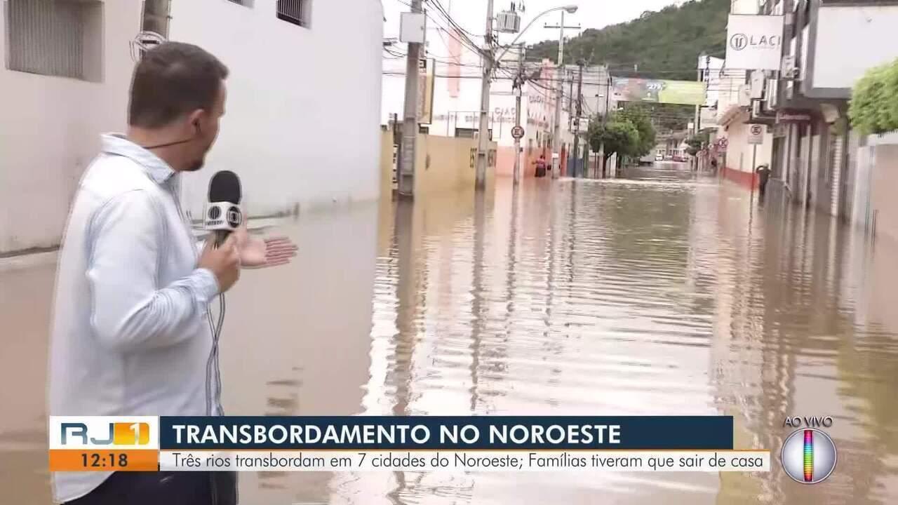 RJ1 confere a situação de Itaperuna depois do Rio Muriaé transbordar neste sábado