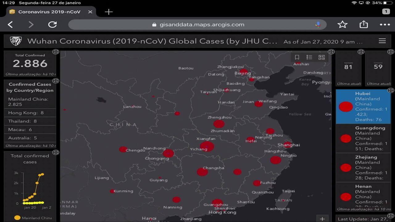 Pesquisadores estão fazendo mapa em tempo real do coronavírus pelo mundo