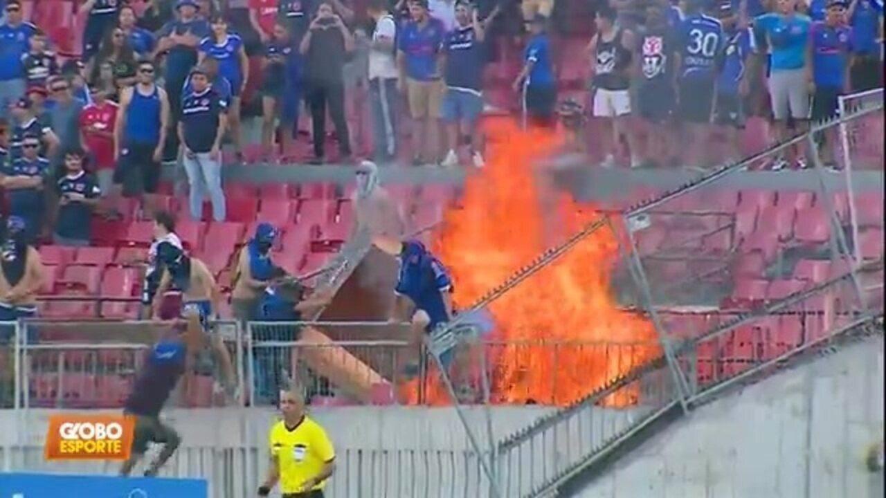 Protestos no Chile: Inter empata, e torcida adversária taca fogo na arquibancada