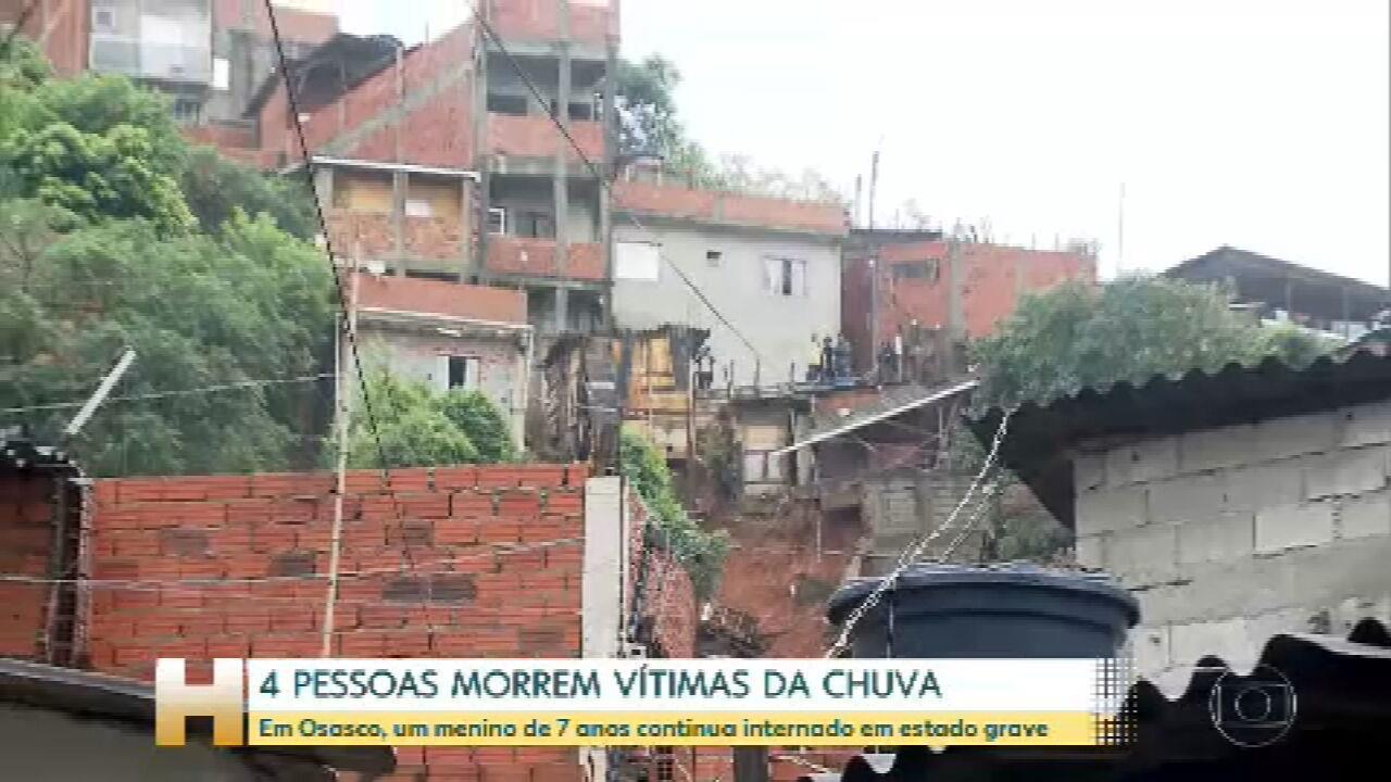 No interior de SP, quatro pessoas morreram vítimas da chuva