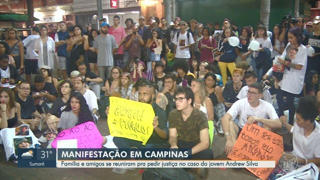 Grupo protesta em frente ao bar onde briga começou antes de jovem ser morto em Campinas