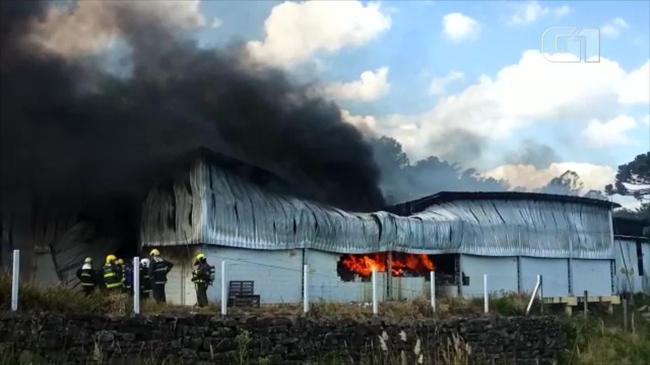 Incêndio atinge fábrica de espuma em Farroupilha