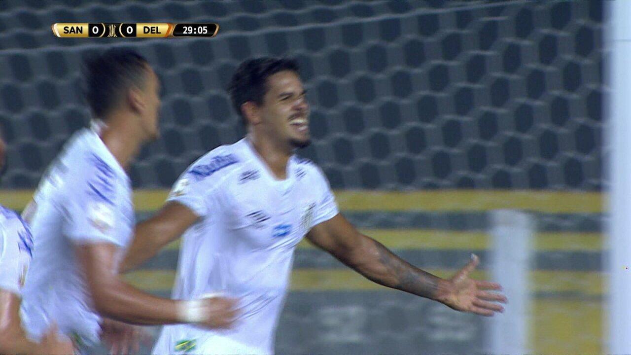 Melhores momentos de Santos 1 x 0 Delfín pela Taça Libertadores