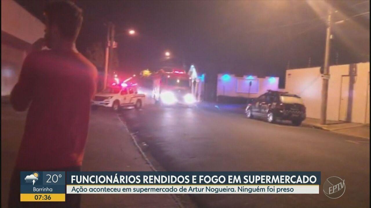 Dupla rende funcionários e ateia fogo em supermercado de Artur Nogueira, SP