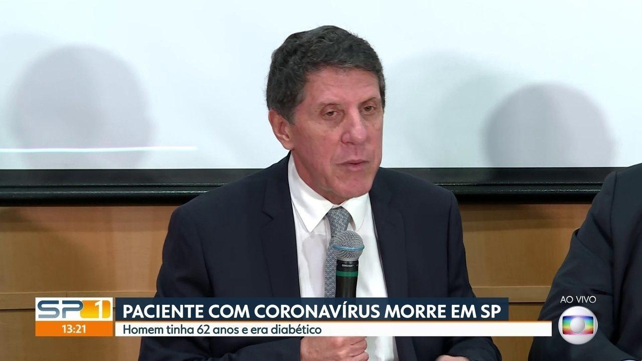 Paciente morto por coronavírus tinha 62 e era hipertenso