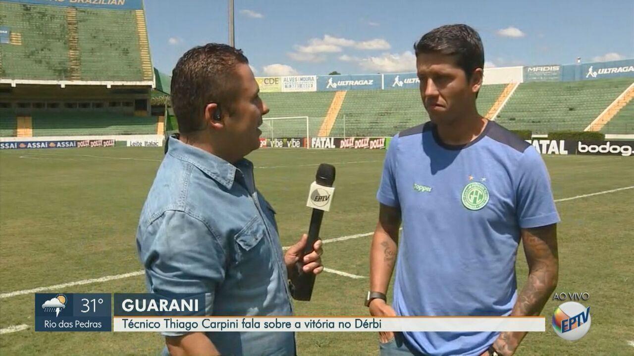 Técnico Thiago Carpini fala sobre a vitória do Guarani no dérbi