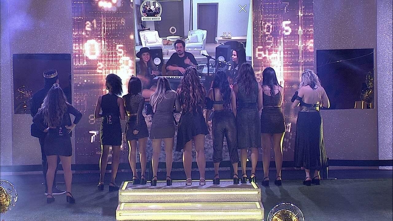 Show de Maiara & Maraisa no telão empolga brothers na Festa TOP 10 do BBB20